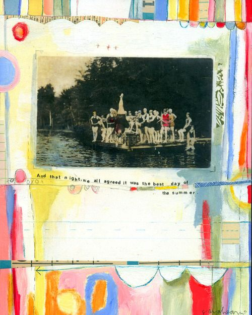 Summer Collage | Sarah Ahearn BellemareAhearn Bellemare, Girls Generation, Art Inspiration, Art Journals, Sarah Ahearn, 8X10 Prints, Altered Art, Inspiration Art, Dock Prints