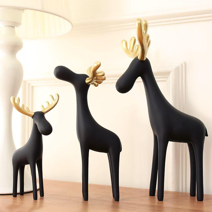 Новый Американская мечта Отдел золотой смолы рога оленя художественное оформление дома украшения D0094-tmall.com Lynx