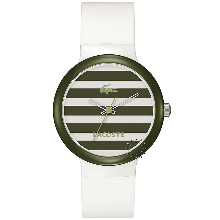 LACOSTE GOA White and Green Rubber Strap  62€  Αγοράστε το εδώ: http://www.oroloi.gr/product_info.php?products_id=28349