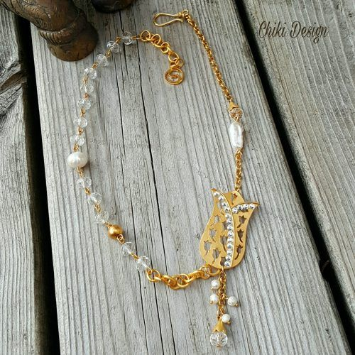 Authentic Gold plated Tulip pendant with Pearls and Crystals - Chiki Custom made unique jewelry Chiki Design