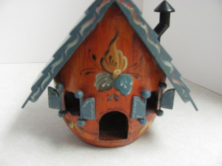 Artistic Norwegian Rosemaling Wood BIRD HOUSE & DECORATED PLATE UNIQUE | eBay