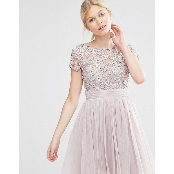Little Mistress Petite Short Sleeve Lace Bodice Mini Dress With Tulle... (64 AUD) ❤ liked on Polyvore featuring dresses, petite, pink, short sleeve cocktail dresses, pink cocktail dress, pink lace dresses, short party dresses and short-sleeve dresses