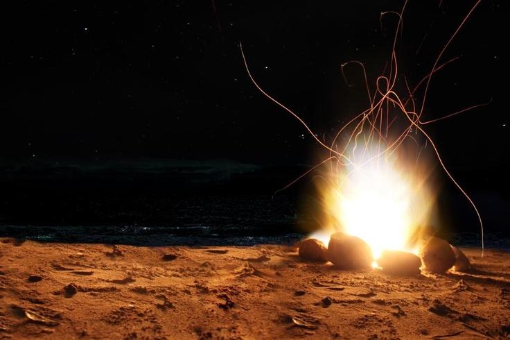 Bonfire on Beach - Hahei, New Zealand Beach, Summer, Ben Amies © 2012