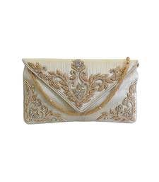 Buy Raw Silk Clutch with Exquisite Zardosi Work (Light Gold) clutch online