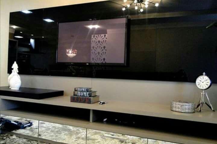 Sala De Tv Parede Preta ~ Painel para TV em laca preta  Sala de estar  Pinterest  TVs e Ems