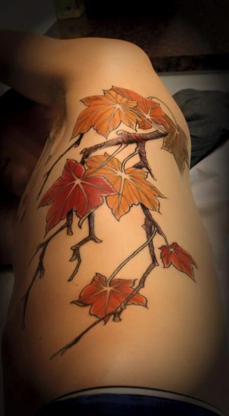 Jeff Norton Tattoos - Maple leave branch - 99243
