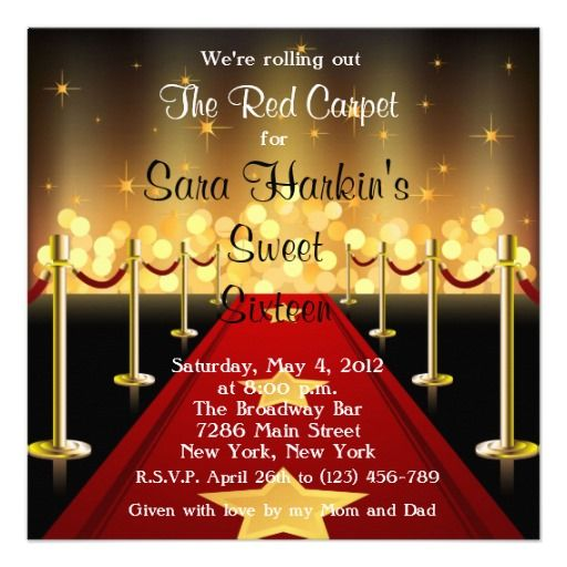 red carpet themed invitations | Red Carpet Hollywood Sweet 16 Birthday Invite from Zazzle.com