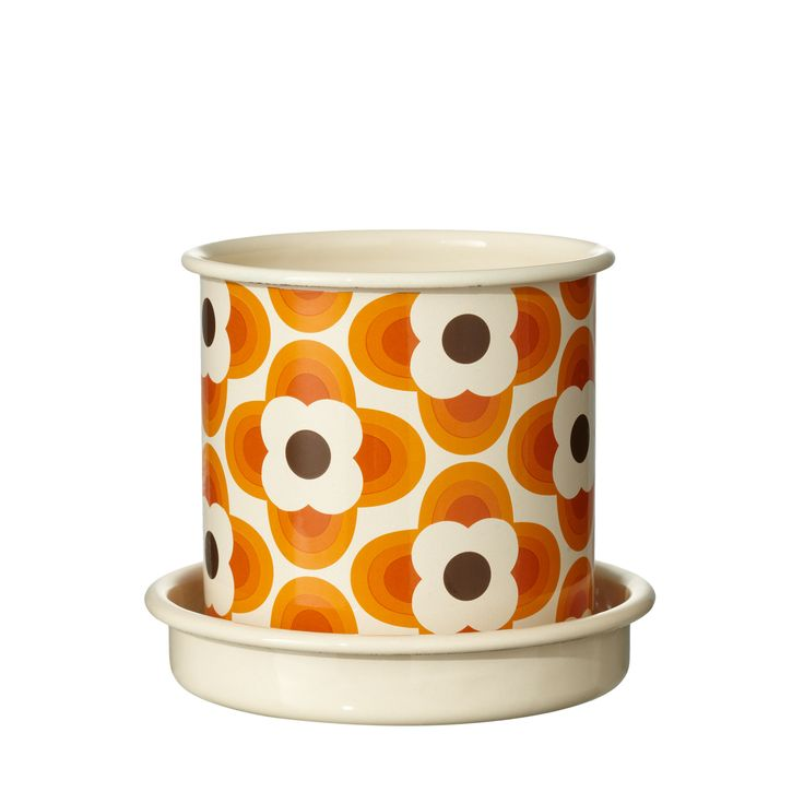 Orla Kiely: Small enamel plant pot with saucer, in Striped Petal print. Wipe clean using a soft cloth and soapy water only.
