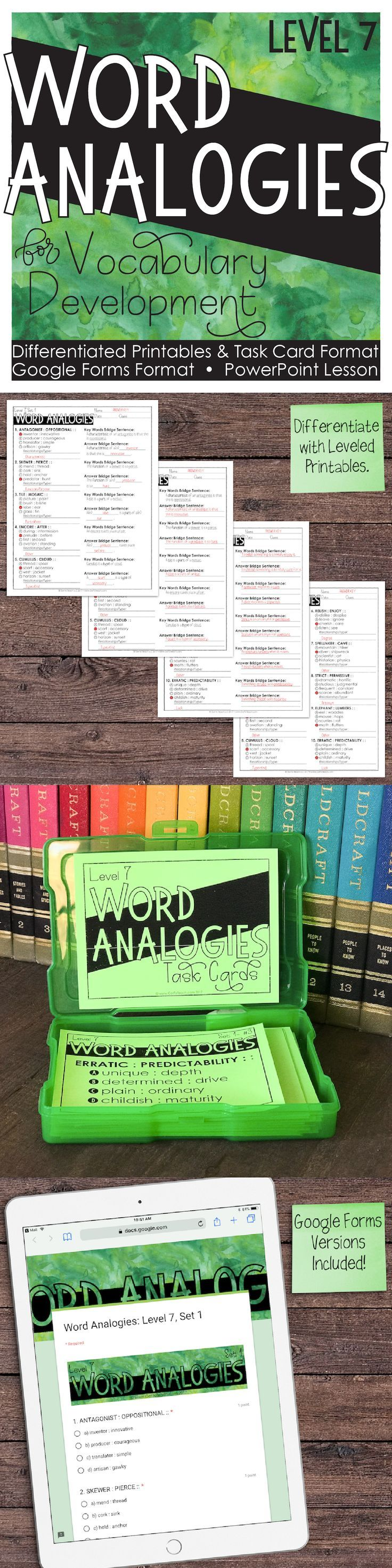 7th Grade Word Analogies That Will Get Your Students Thinking Critically While Building Vocabulary Word Analogies Teaching Vocabulary Vocabulary Instruction [ 2945 x 736 Pixel ]