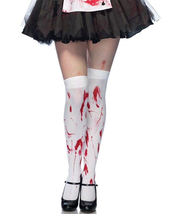 White Bloody Zombie Thigh Highs