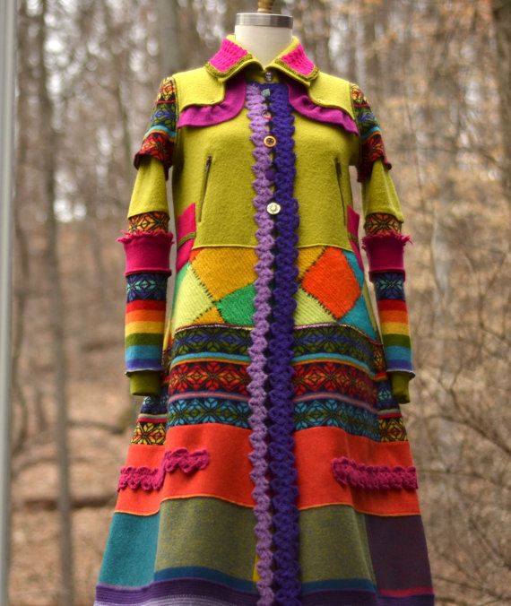 Patchwork color block boho sweater COAT in size Medium. Ready to ship