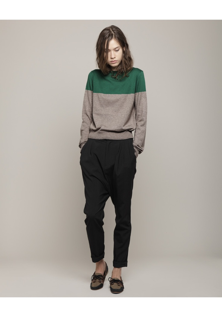 two-toned block sweater from Band of Outsiders