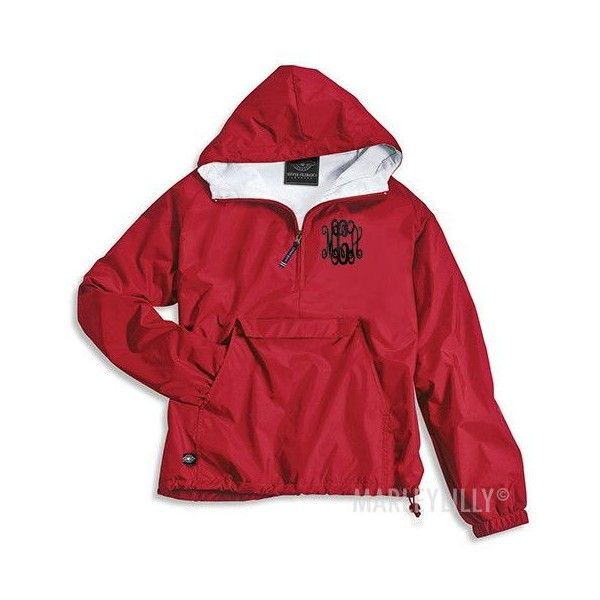 Monogrammed Pullover Rain Jacket ($48) ❤ liked on Polyvore featuring outerwear, jackets, red rain jacket, monogrammed pullover, red jacket, monogrammed rain jacket and monogram jackets