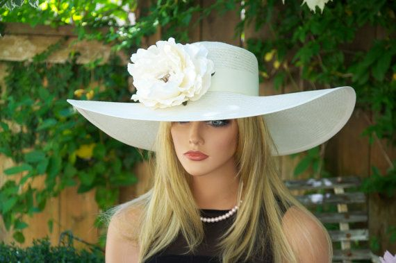 Cream Ivory Wide Brim Hat Church Hat Wedding Hat by AwardDesign