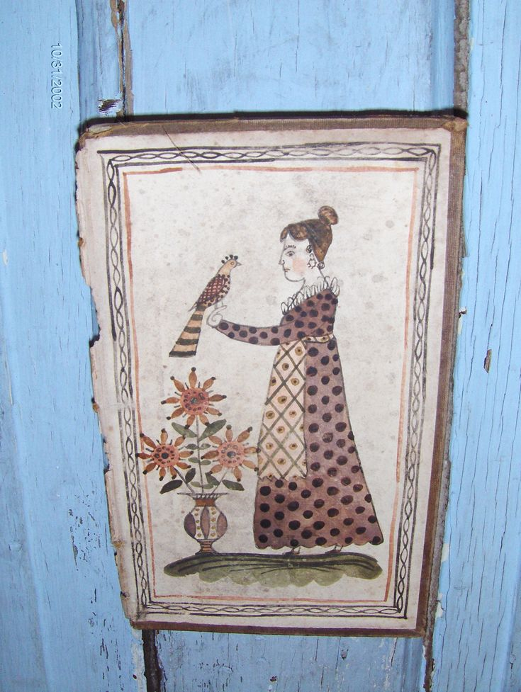 Early style fraktur bookplate of a lady with a bird by Steve Shelton.  Painted on an early leather book cover.  Available at Whitehorse Antiques, Rocheport, Mo.  Contact us for details: 573-698-2088.  Copyright Steve Shelton.