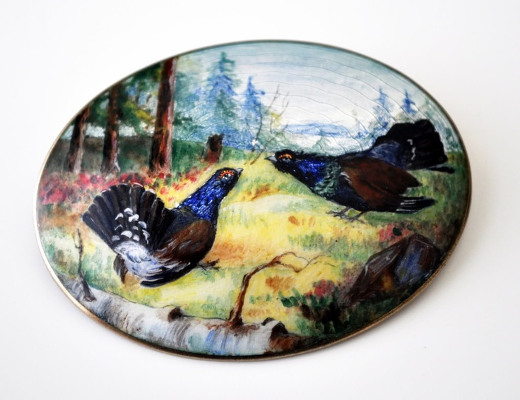 http://i50.tinypic.com/mhv7yd.jpg  Thorleif Johnsen brooch based on Ferdinand von Wright's Fighting Capercaillies