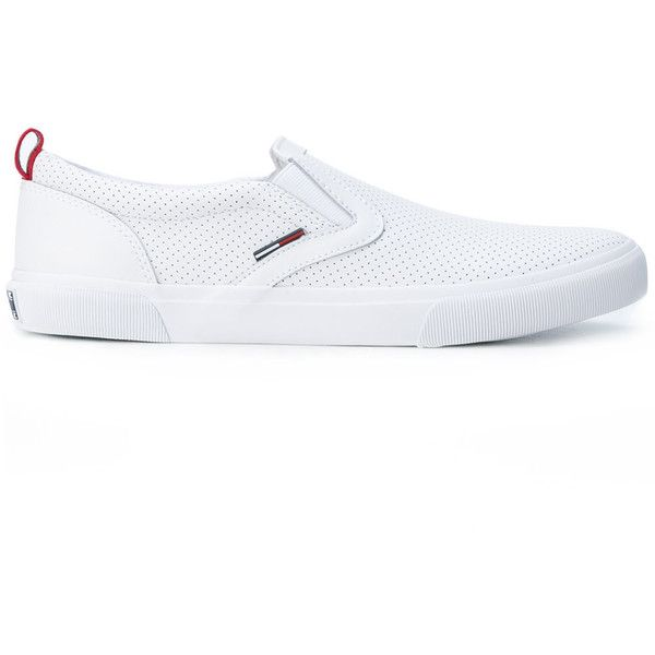 Tommy Hilfiger - perforated slip-on sneakers - men - Calf... ($109) ❤ liked on Polyvore featuring men's fashion, men's shoes, men's sneakers, white, mens slip on sneakers, mens slip on shoes, mens rubber shoes, mens rubber slip on shoes and mens white slip on shoes