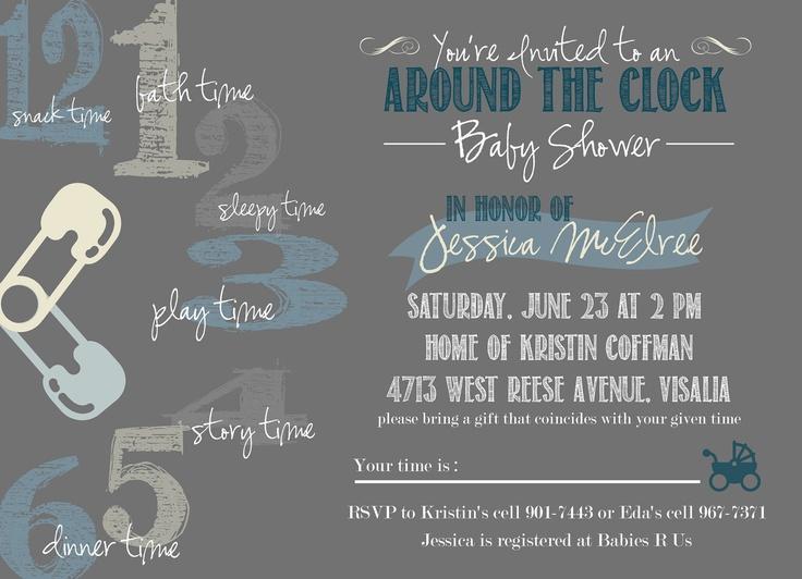 Baby Shower Invitation DIY Printable Around The Clock Theme Creative Fun