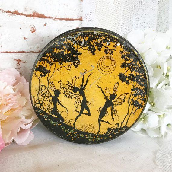 Zeldzame antieke Art Nouveau Biscuit tin litho vak Vintage dansen feeën nimfen busje, decoratieve Art Deco, gele maanlicht ronde fairy
