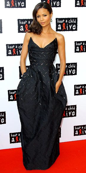 only Thandie Newton could make a diamondplate dress look this fly.. .