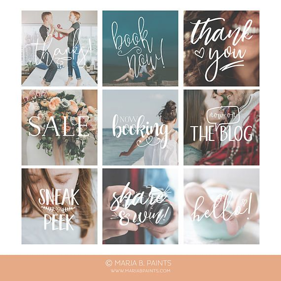 Instagram Marketing Set Blogger Template Photographers Square Photoshop Senior Models Call Book Now Social Media Word Overlays Photoshop