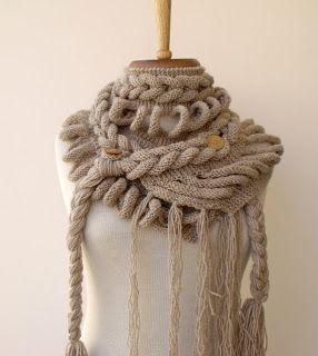 cachecol de crochê com trança