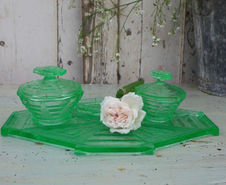 Vanity Set / Vintage / Green / Dressing Table Set / Green Glass / vintage vanity set / Art Deco / Vanity / Glass / Pressed Glass by Restored2bloved on Etsy