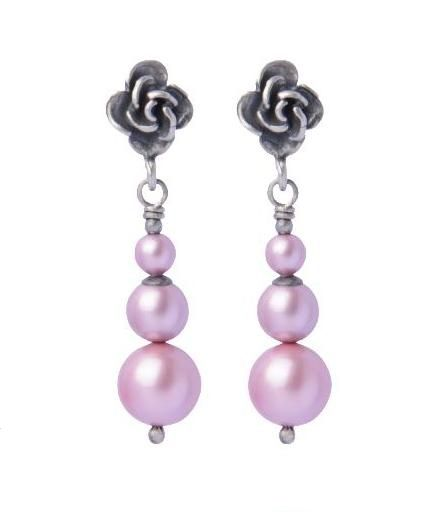 Srebrne, #delikatne kolczyki z perłami swarovskiego. #rose #swarovski #pearls #Silver #wedding_jewelry www.cudosfera.pl