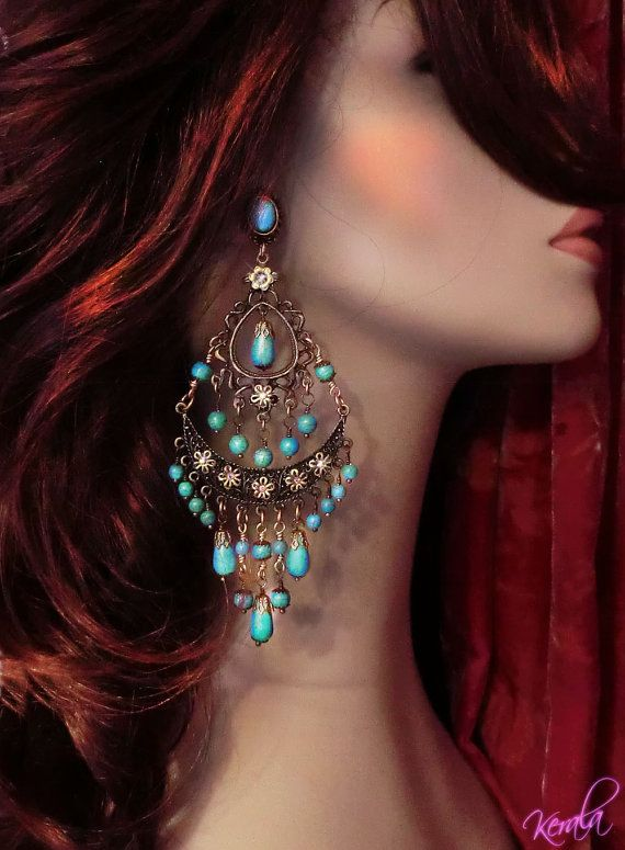 Large Exotic Boho Gypsy Chandelier Earrings Turquoise by kerala