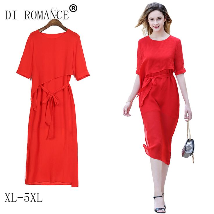 DI ROMANCE Marcas Verão em torno do pescoço Meia manga vestido de chiffon vermelho 3XL 4XL 5XL plus size mulheres vestido…