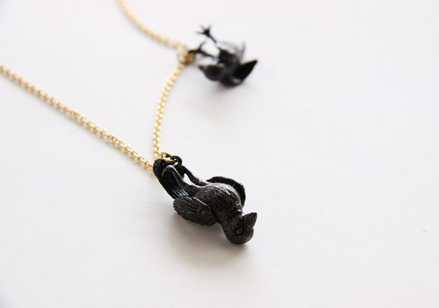 Long Necklaces – Double Black Crows Death Hanging Pendant / Necklac – a unique product by septemberroom on DaWanda
