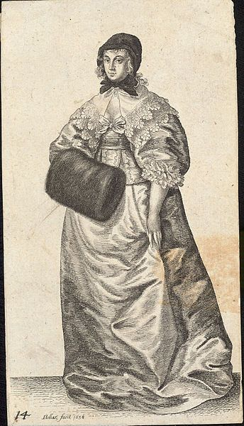 Artist  Wenceslaus Hollar (1607–1677) Link back to Creator infobox template wikidata:Q448555 Title Lady with cap and muff. State 2. Date Unknown date (author lived 1607-1677) Dimensions 13 x 8 cm. Current location  Thomas Fisher Rare Book Library Link back to Institution infobox template wikidata:Q7789602 Wenceslas Hollar Digital Collection Accession number Plate number: P1791.