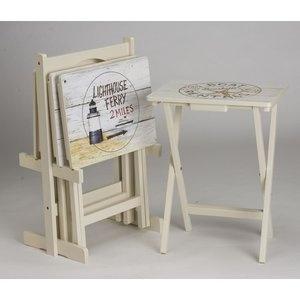 Cute tables for beach theme or beach house    Cape Craftsmen Nautical TV Tray (Set of 4) Walmart.com