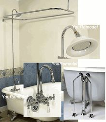 Add storage to clawfoot tub w stainless steel baskets and hose