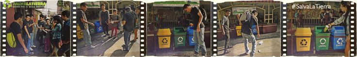 Un grupo de estudiantes de la clase de Creatividad Publicitaria dando el ejemplo de clasificar la basura
