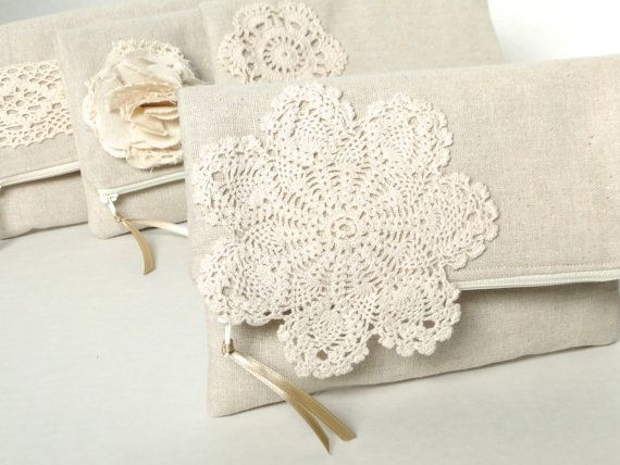 Fold over clutch, bridesmaids gift, clutch burlap and lace wedding, rustic natural wedding, beige clutch. $21.00, via Etsy.