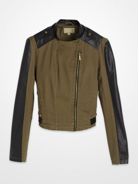 Ashley Junior's Olive & Black Jacket $29.99 #military #motorcycle #zi...