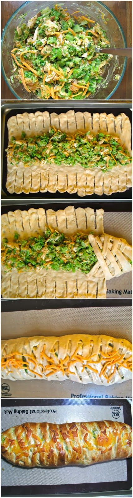 Broccoli Cheddar Chicken Braid…made with crescent rolls. Would be delicious as an appetizer, sandwich with a bowl of soup, or as an entree. Ingredients: 2 eggs 1/2 cup sugar 1/2 cup Crisco 1 cup warm water 2 1/4 teaspoons yeast 1 teaspoon salt 4 cups flour  It's only fair to share...