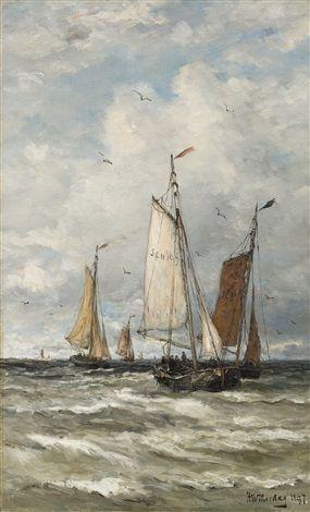 Fishing vessels at sea by Hendrik Willem Mesdag
