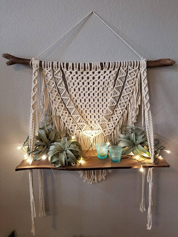 Macrame shelf, macrame wall hanging, shelf | Home ...