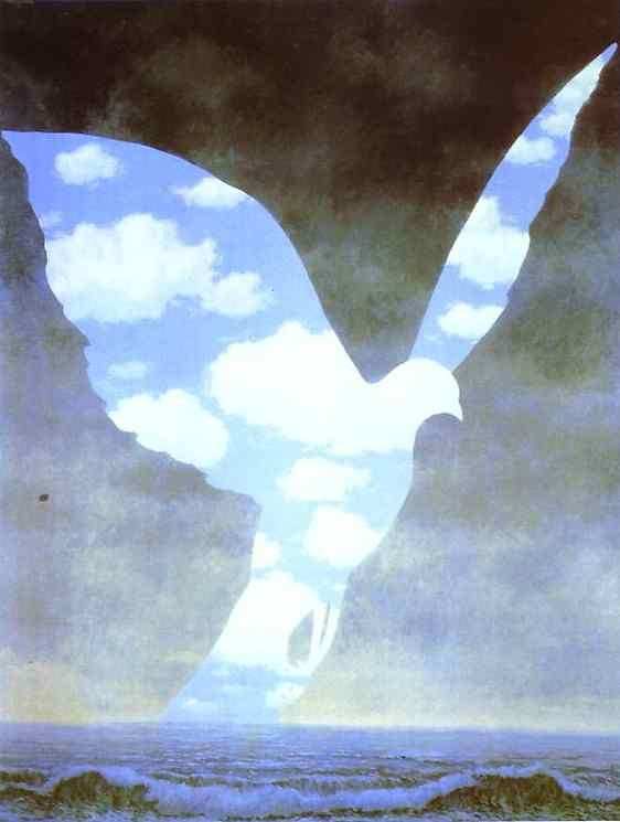 Magritte: The dove of peace is so delicate does it really exist apart from a shadow?