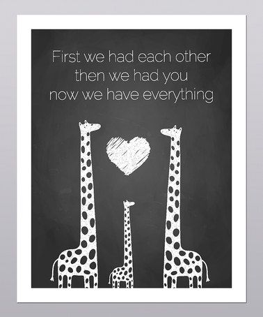 This is very sweet. :: Then We Had You Giraffe Print by