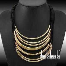 Hot Predaj módne šperky Mnohí gumička Priechodné Bright kovové rúrky metra kožený náhrdelník pre ženy kostýmu (Čína (pevninská časť))