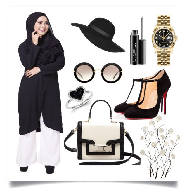 """BLACK MAYSA"" by ctnurazreen-1 on Polyvore featuring Topshop, Kate Spade, Christian Louboutin, MAC Cosmetics, Rolex, Miu Miu, Universal Lighting and Decor, Kevin Jewelers, women's clothing and women"