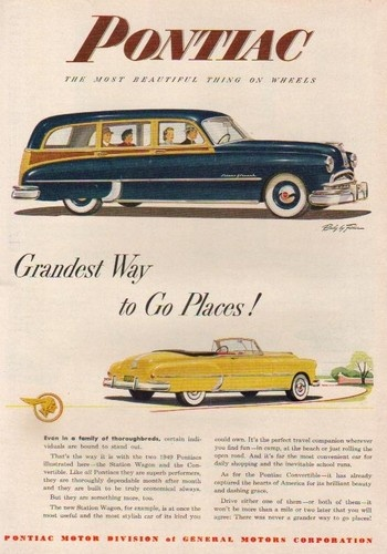 1949 Pontiac Convertible~Woodie Station Wagon car ad