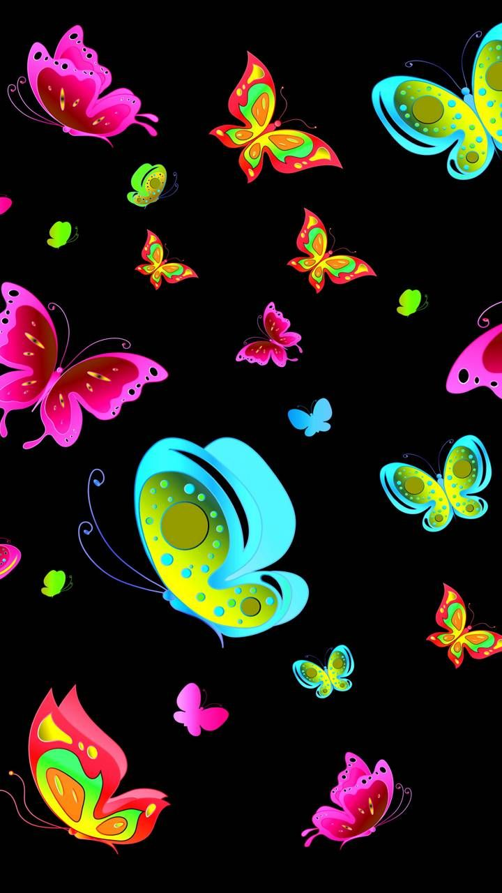 Black Butterflies Butterfly Wallpaper Butterfly Background Neon Wallpaper