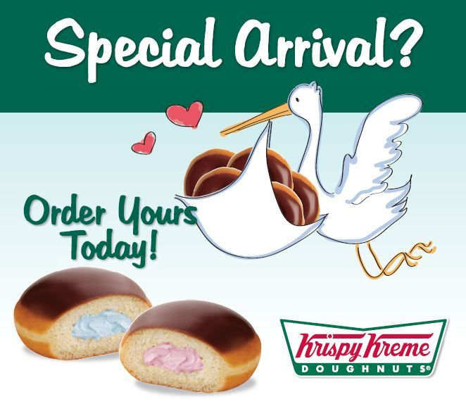 Krispy Kreme has new Gender Reveal custom doughnuts and they are so cool.  Nashville, TN has them, so call your local shop.