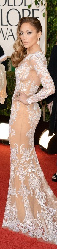 Jennifer Lopez JLo in Zuhair Muraid lace evening gown
