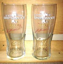 2 NEW SMITHWICKS BEER BAR GLASSES IRISH ALE BAR GLASS SET IRELAND
