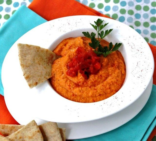 Roasted Red Pepper Hummus - Just made my 1st batch! It's very good! I added a little more olive oil to smooth it out, but that may have been needed because I need a new food processor. Also, I added more cumin and cayenne.